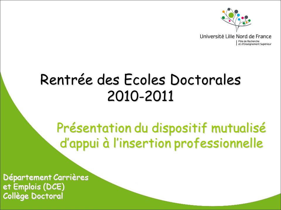 Rentrée des Ecoles Doctorales 2010-2011