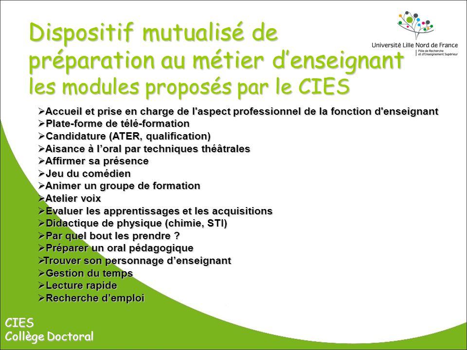 Dispositif mutualisé de préparation au métier d'enseignant les modules proposés par le CIES