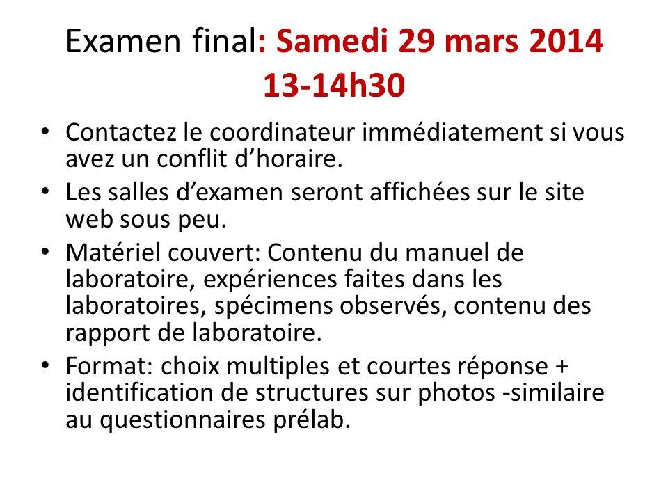 Examen final: Samedi 29 mars 2014 13-14h30