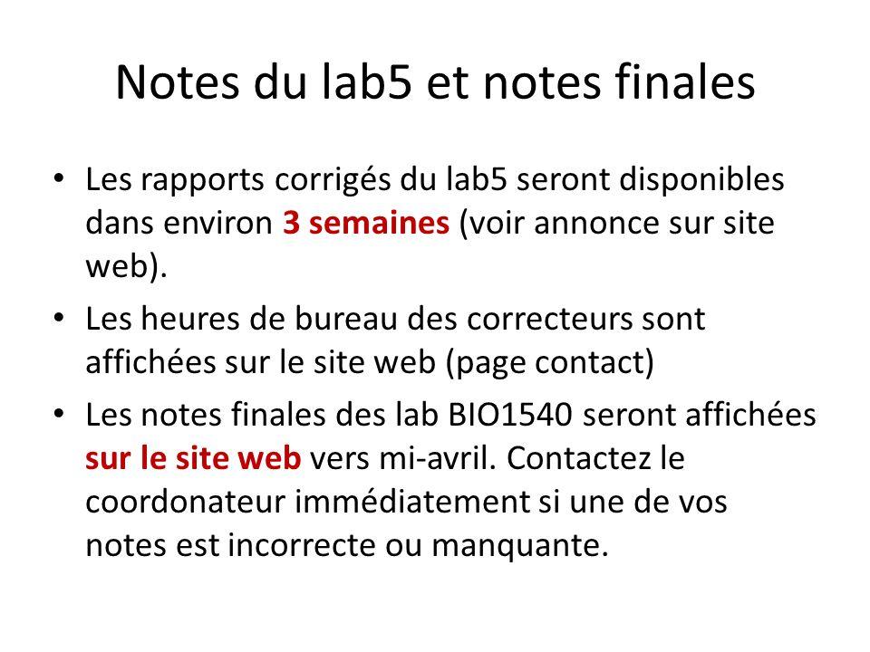 Notes du lab5 et notes finales