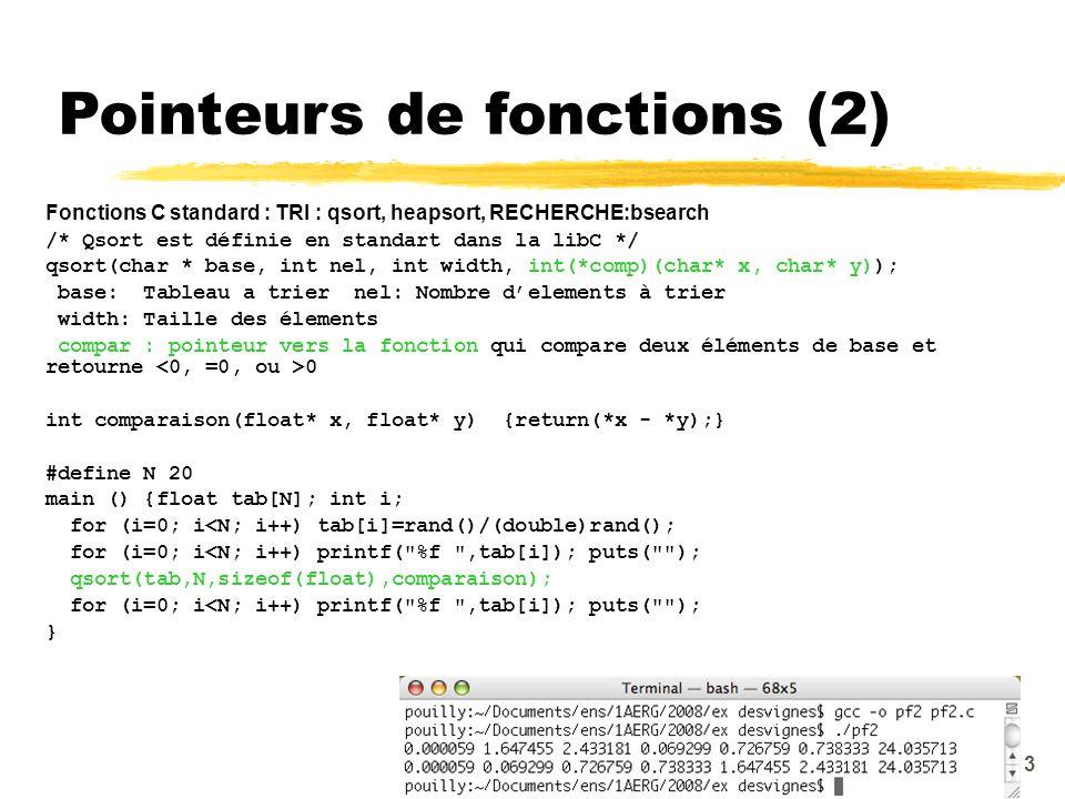 Pointeurs de fonctions (2)