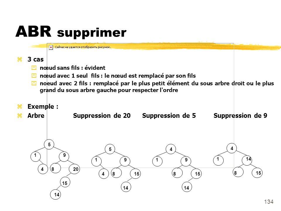 ABR supprimer 3 cas Exemple :