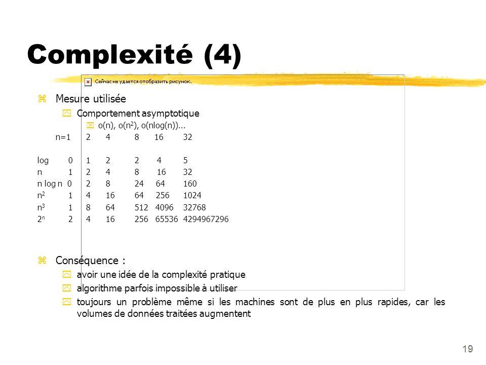Complexité (4) Mesure utilisée Conséquence : Comportement asymptotique