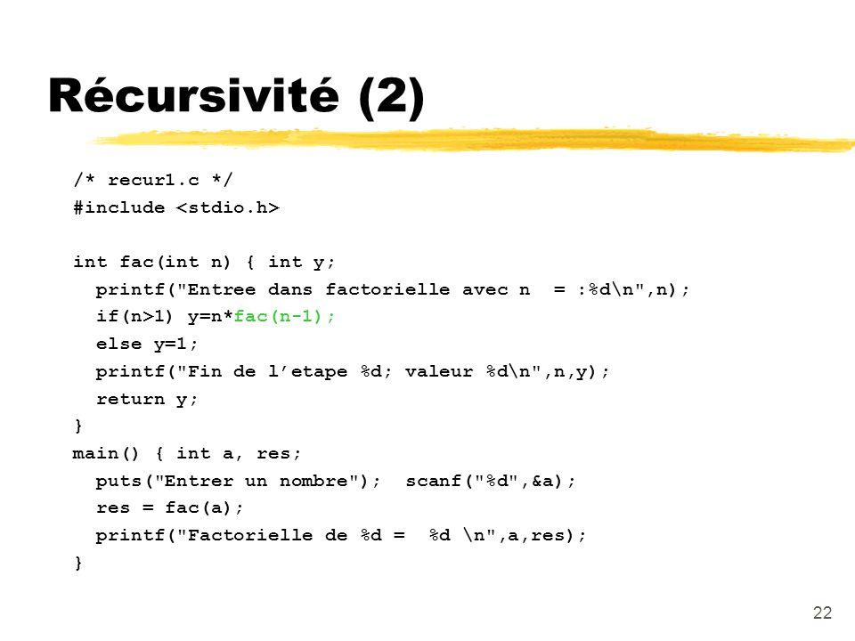 Récursivité (2) /* recur1.c */ #include <stdio.h>