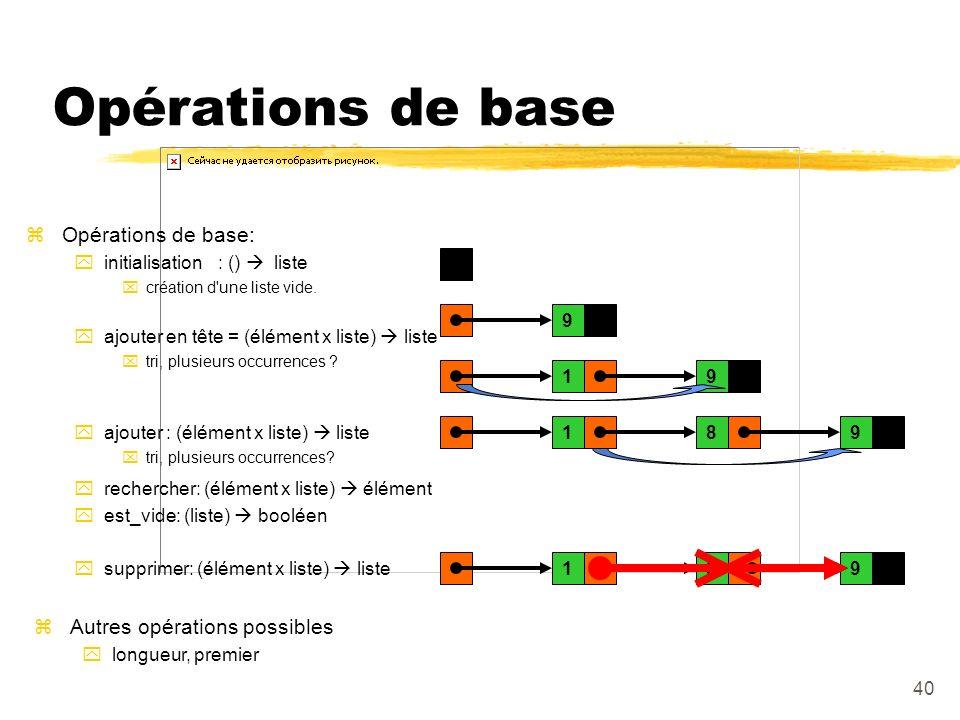 Opérations de base Opérations de base: Autres opérations possibles