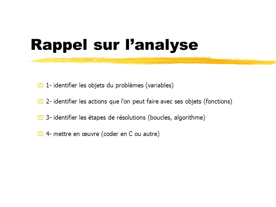Rappel sur l'analyse 1- identifier les objets du problèmes (variables)