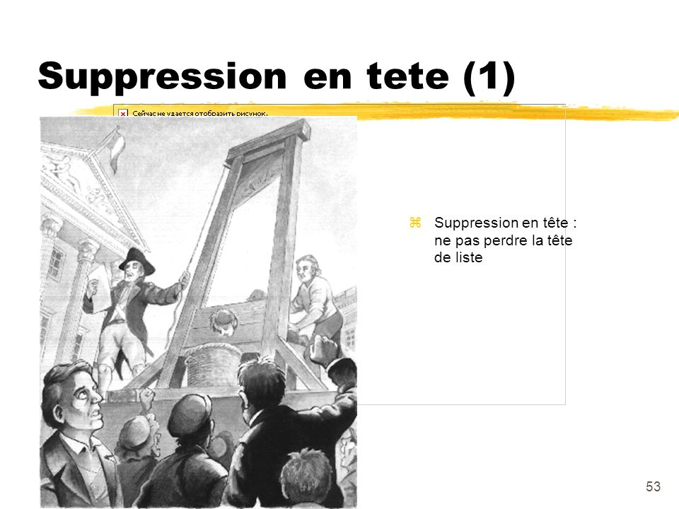 Suppression en tete (1) Suppression en tête : ne pas perdre la tête de liste