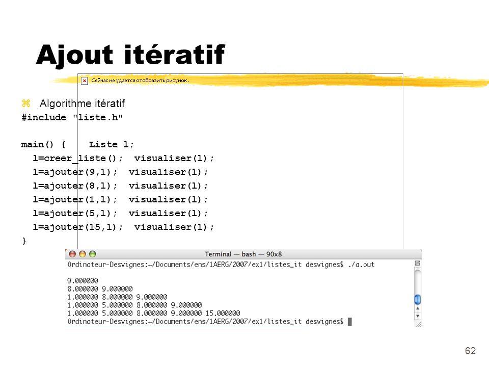 Ajout itératif Algorithme itératif #include liste.h