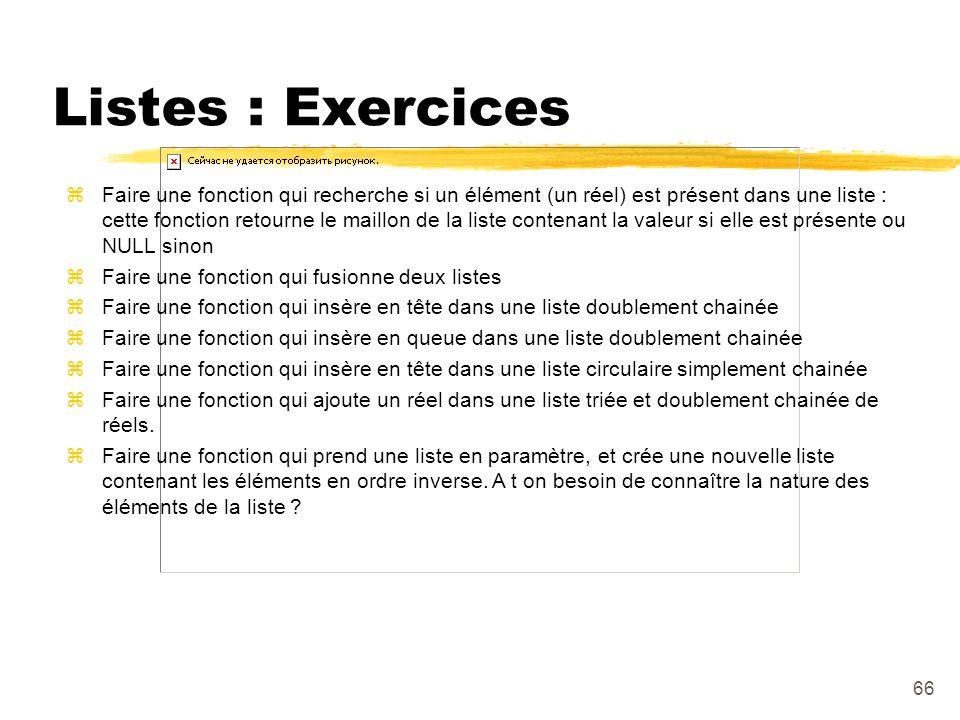 Listes : Exercices