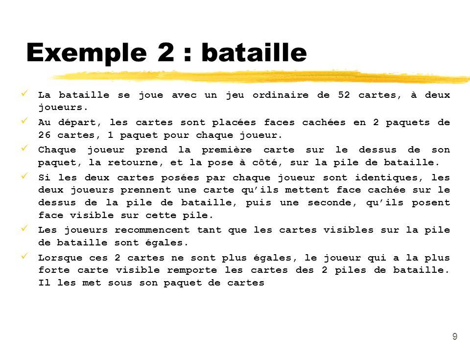 Exemple 2 : bataille La bataille se joue avec un jeu ordinaire de 52 cartes, à deux joueurs.