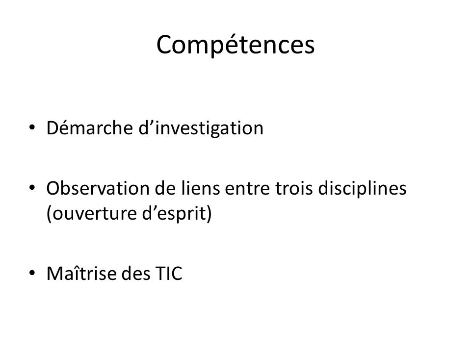 Compétences Démarche d'investigation