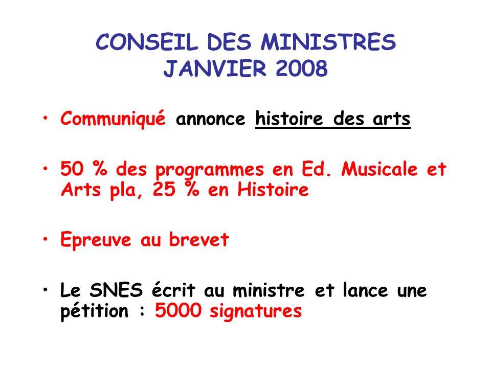 CONSEIL DES MINISTRES JANVIER 2008