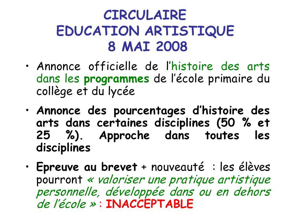 CIRCULAIRE EDUCATION ARTISTIQUE 8 MAI 2008
