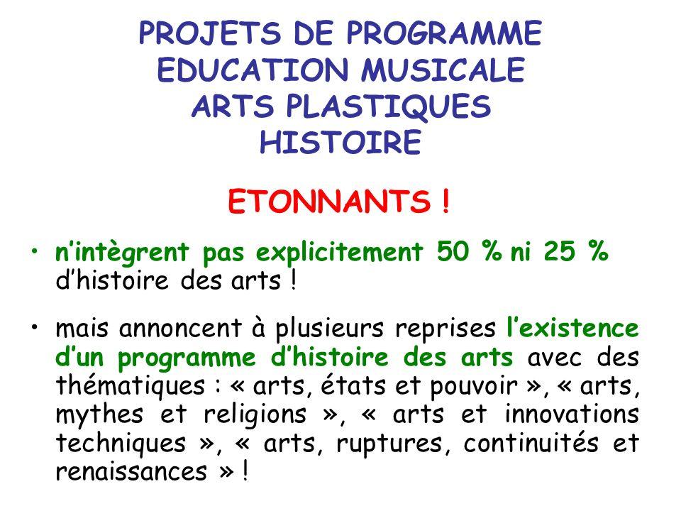 PROJETS DE PROGRAMME EDUCATION MUSICALE ARTS PLASTIQUES HISTOIRE