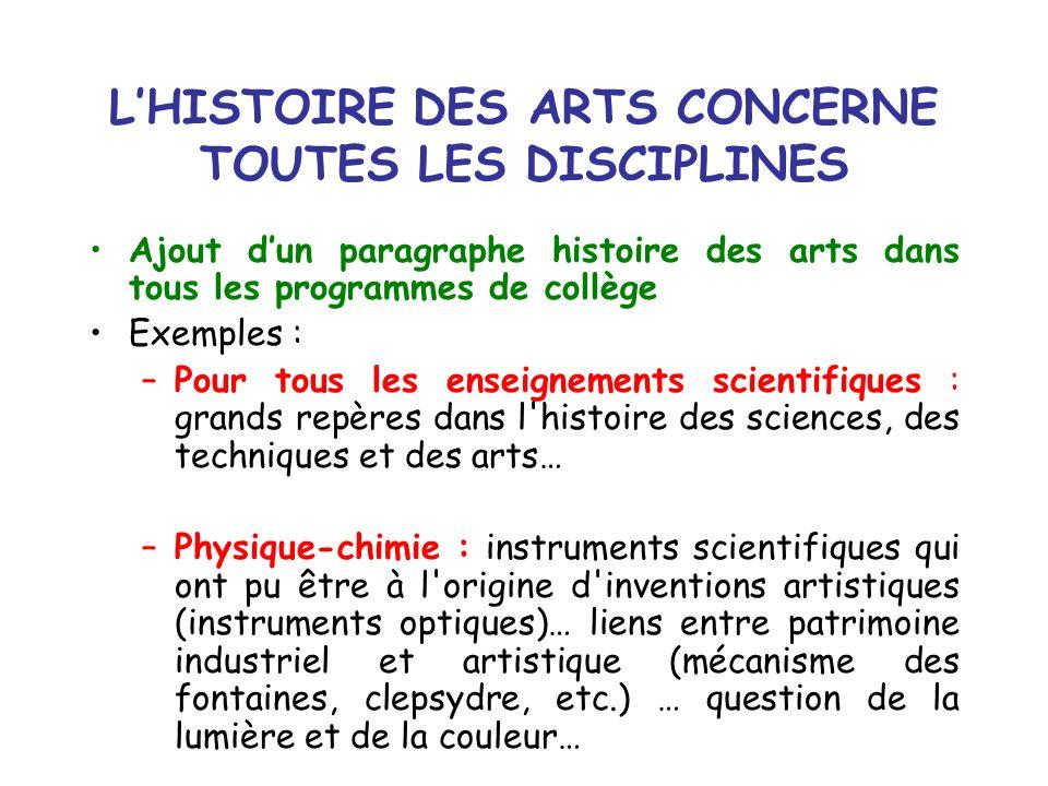 L'HISTOIRE DES ARTS CONCERNE TOUTES LES DISCIPLINES