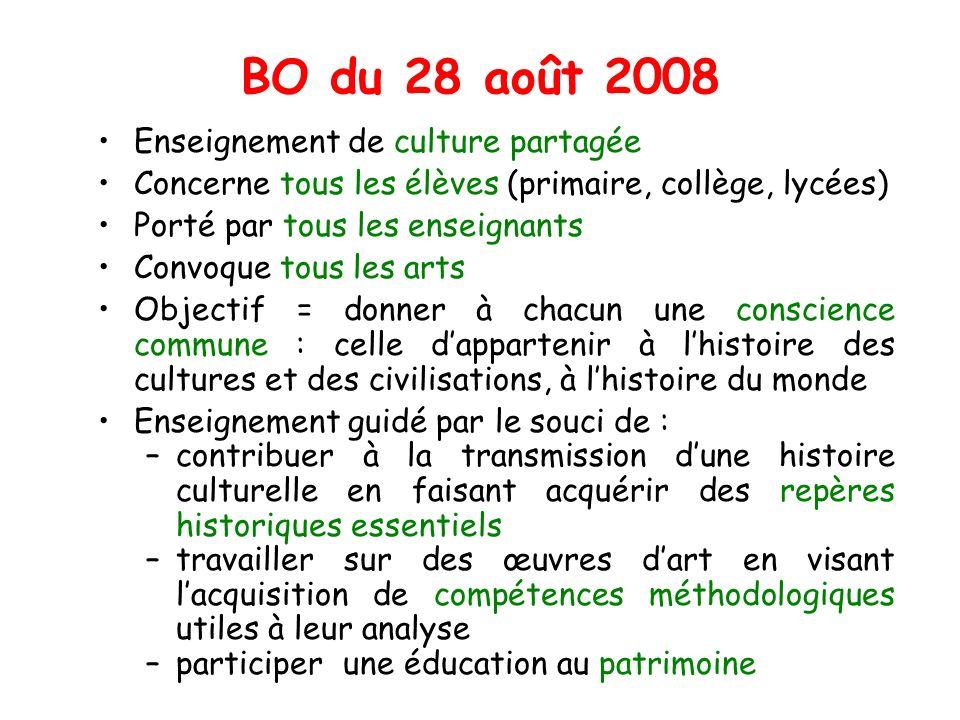 BO du 28 août 2008 Enseignement de culture partagée