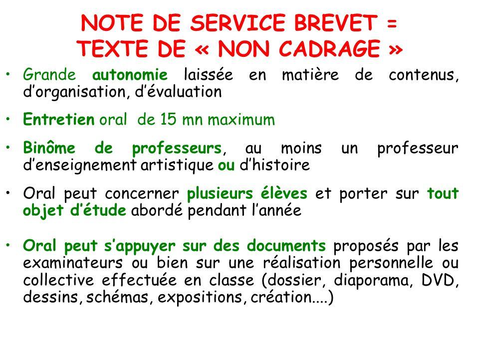 NOTE DE SERVICE BREVET = TEXTE DE « NON CADRAGE »