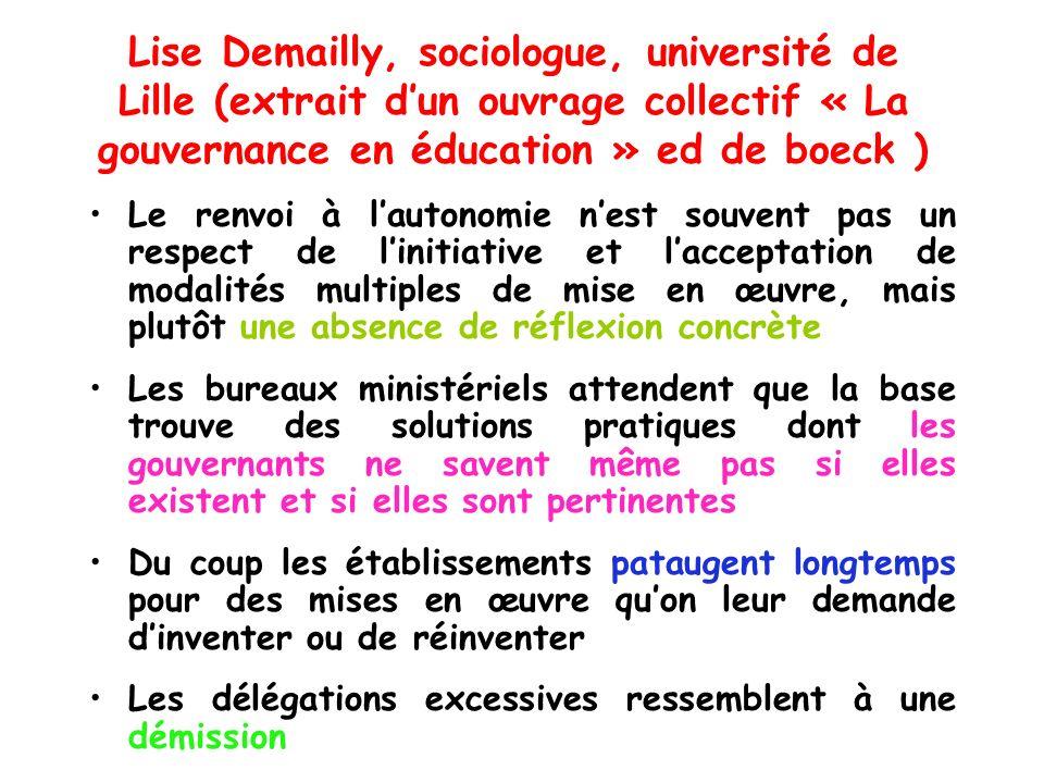 Lise Demailly, sociologue, université de Lille (extrait d'un ouvrage collectif « La gouvernance en éducation » ed de boeck )