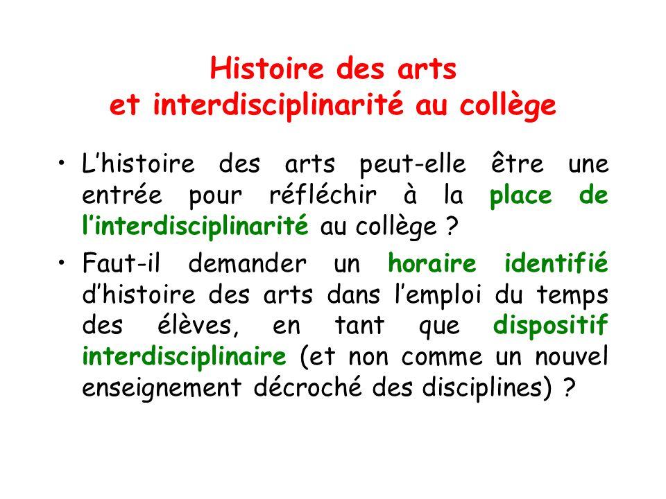 Histoire des arts et interdisciplinarité au collège