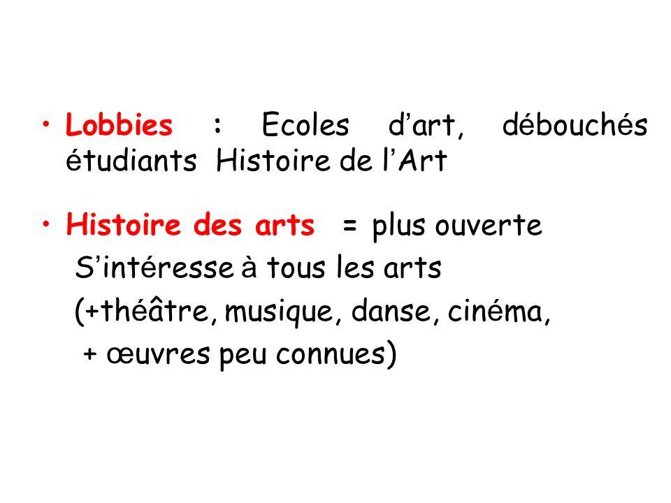 Lobbies : Ecoles d'art, débouchés étudiants Histoire de l'Art