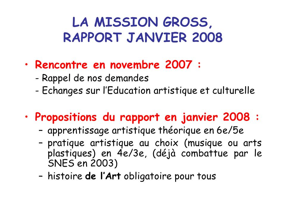 LA MISSION GROSS, RAPPORT JANVIER 2008