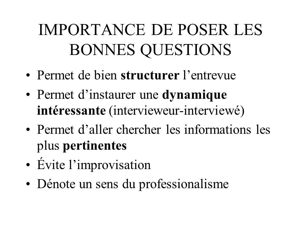 IMPORTANCE DE POSER LES BONNES QUESTIONS