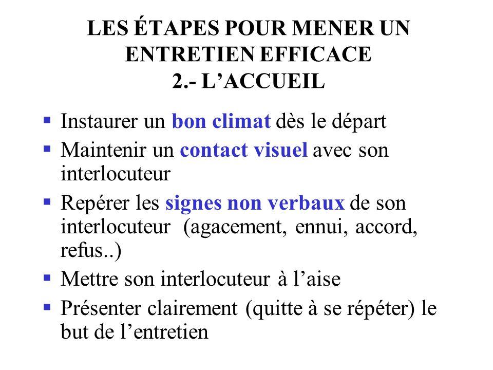 LES ÉTAPES POUR MENER UN ENTRETIEN EFFICACE 2.- L'ACCUEIL