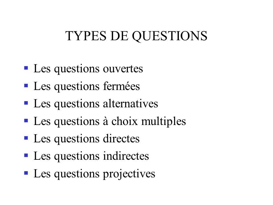TYPES DE QUESTIONS Les questions ouvertes Les questions fermées