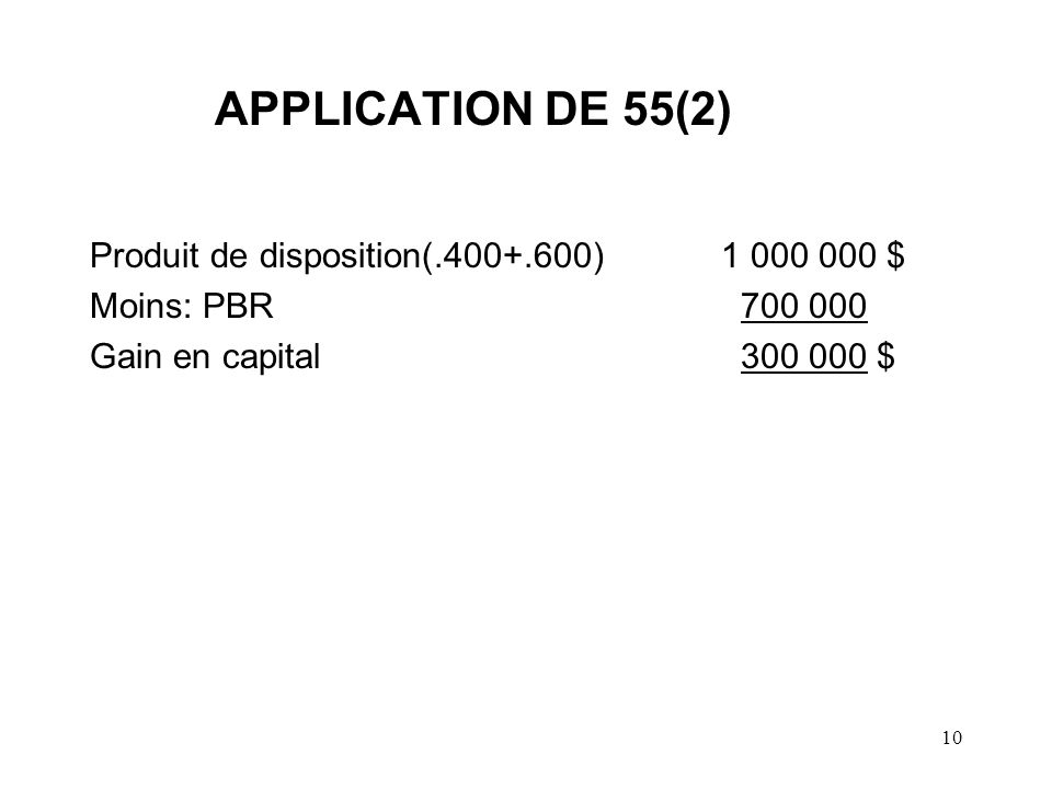 APPLICATION DE 55(2) Produit de disposition(.400+.600) 1 000 000 $