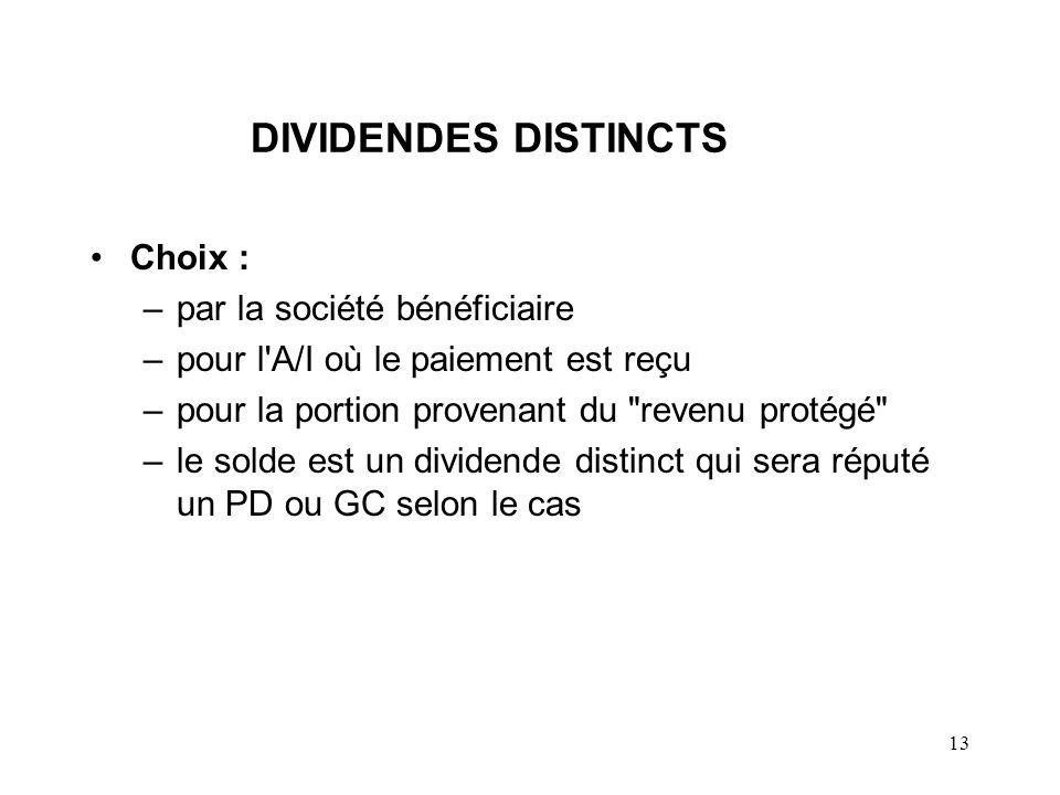 DIVIDENDES DISTINCTS Choix : par la société bénéficiaire