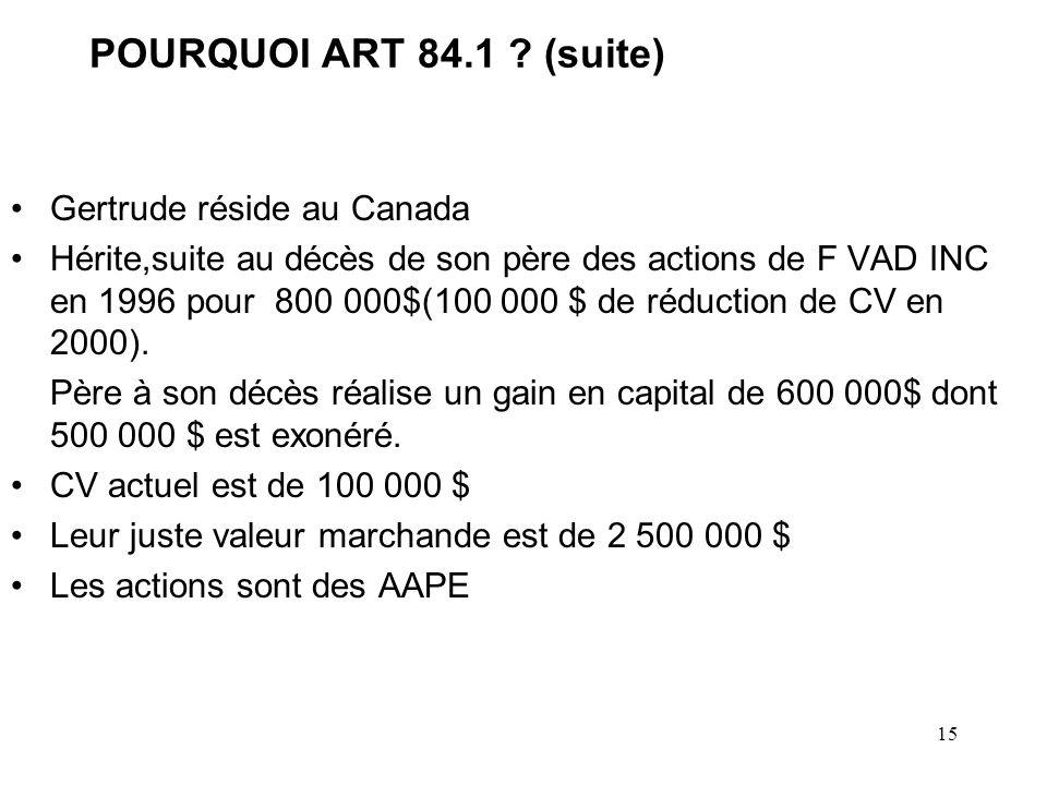 POURQUOI ART 84.1 (suite) Gertrude réside au Canada