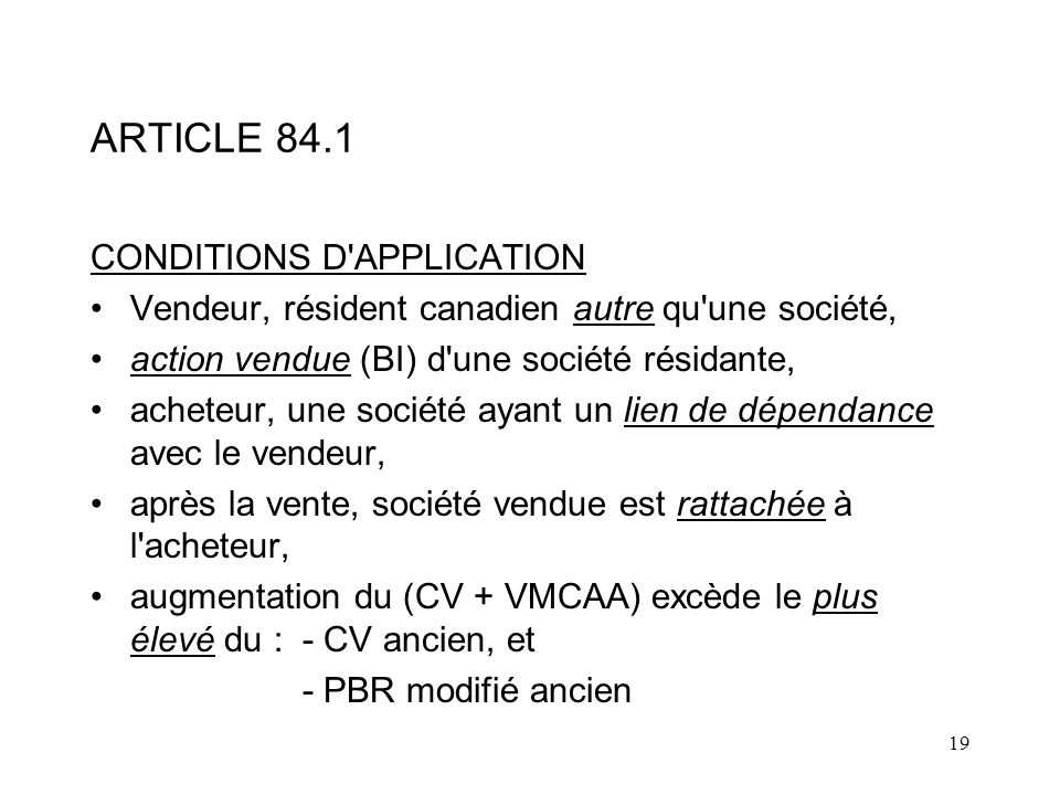 ARTICLE 84.1 CONDITIONS D APPLICATION