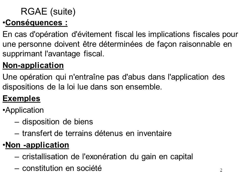 RGAE (suite) Conséquences :