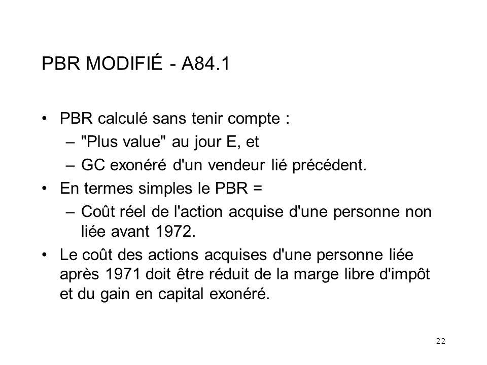 PBR MODIFIÉ - A84.1 PBR calculé sans tenir compte :