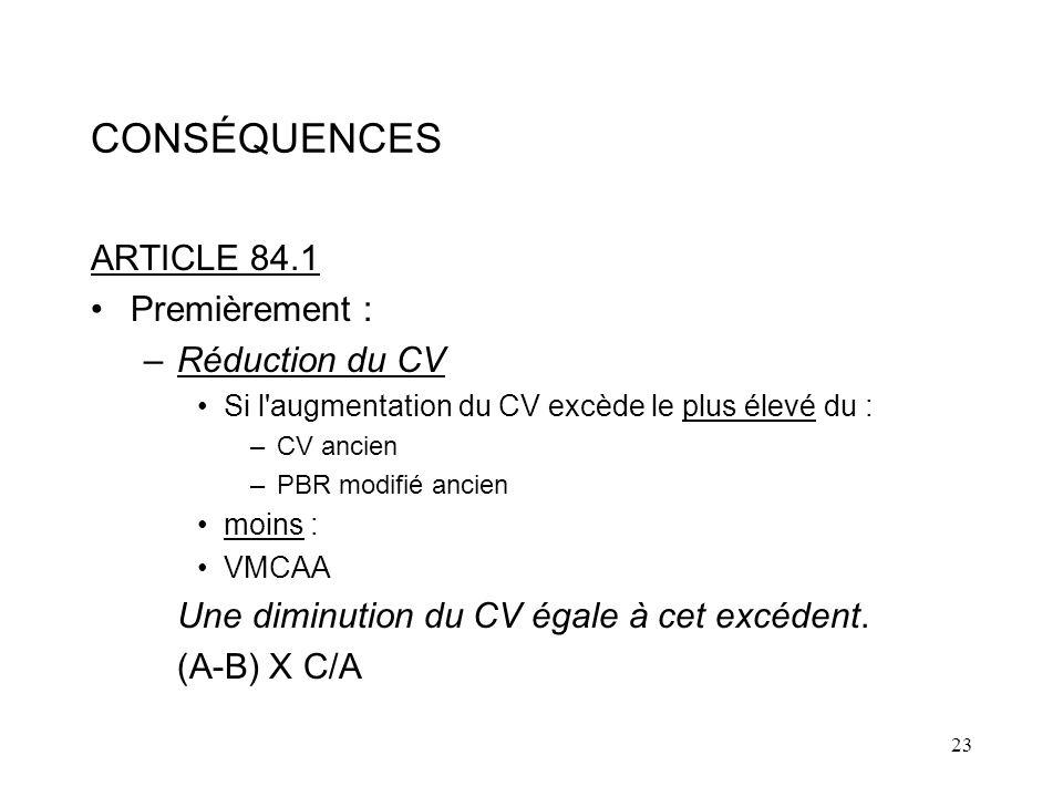 CONSÉQUENCES ARTICLE 84.1 Premièrement : Réduction du CV