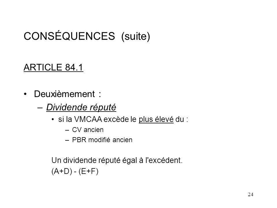 CONSÉQUENCES (suite) ARTICLE 84.1 Deuxièmement : Dividende réputé
