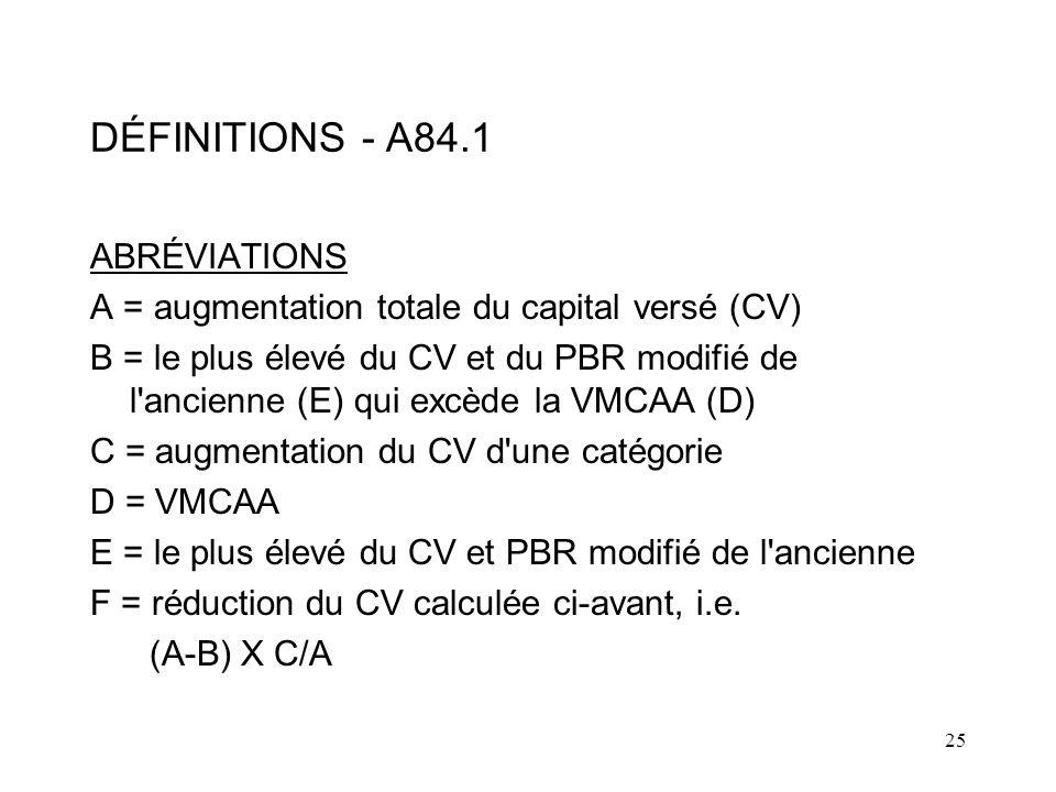 DÉFINITIONS - A84.1 ABRÉVIATIONS