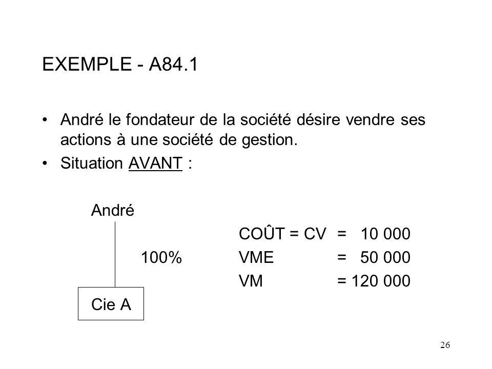 EXEMPLE - A84.1 André le fondateur de la société désire vendre ses actions à une société de gestion.