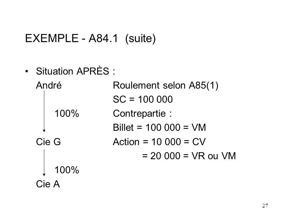 EXEMPLE - A84.1 (suite) Situation APRÈS : André Roulement selon A85(1)