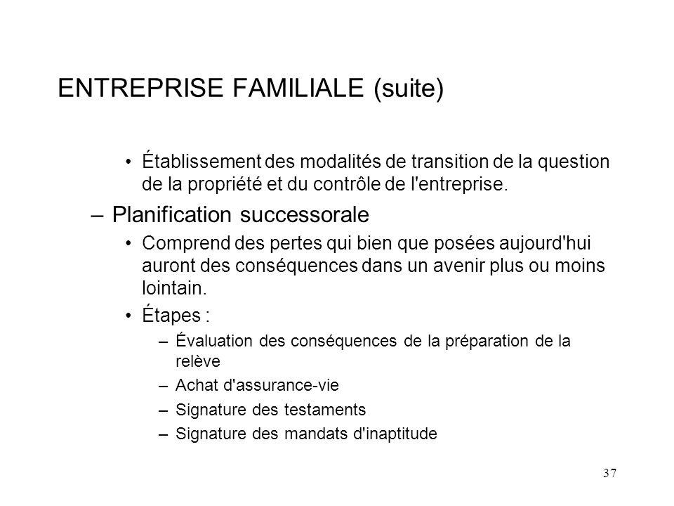 ENTREPRISE FAMILIALE (suite)