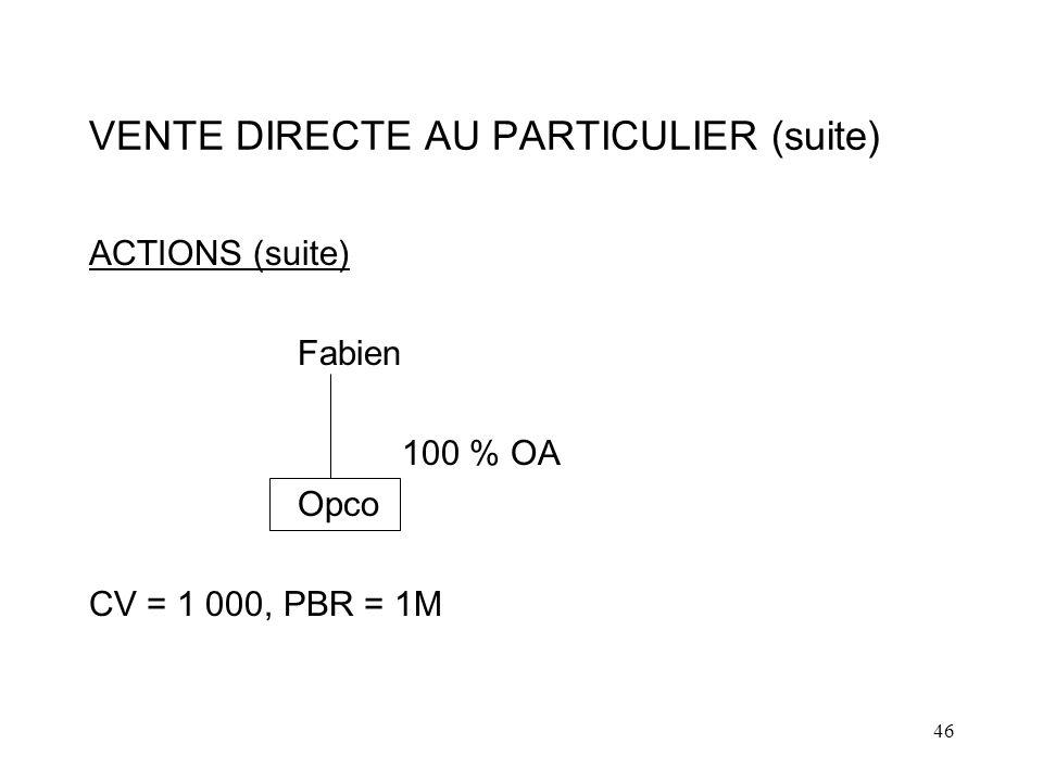 VENTE DIRECTE AU PARTICULIER (suite)