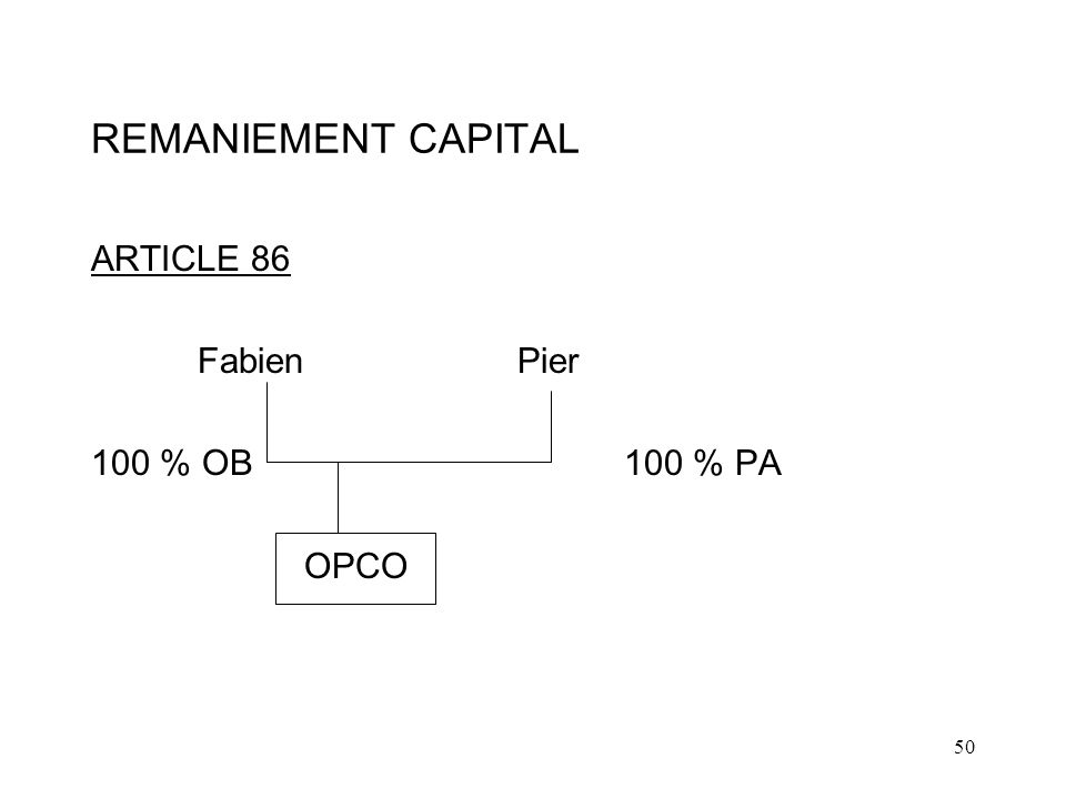 REMANIEMENT CAPITAL ARTICLE 86 Fabien Pier 100 % OB 100 % PA OPCO