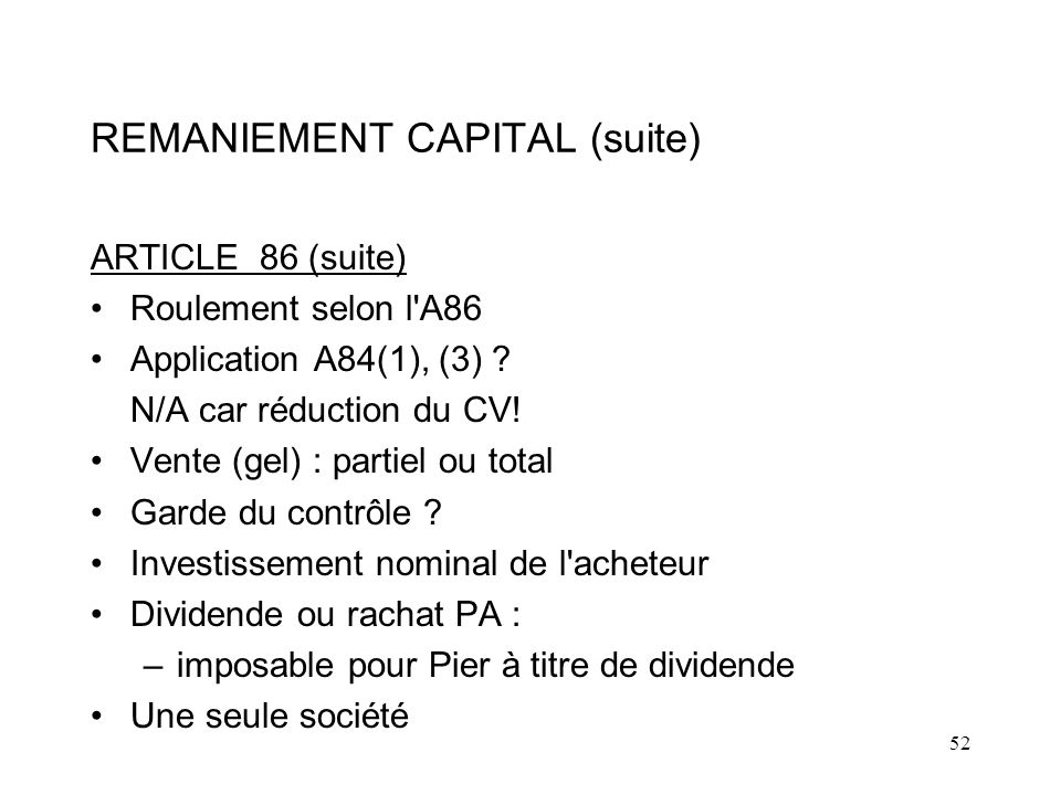 REMANIEMENT CAPITAL (suite)