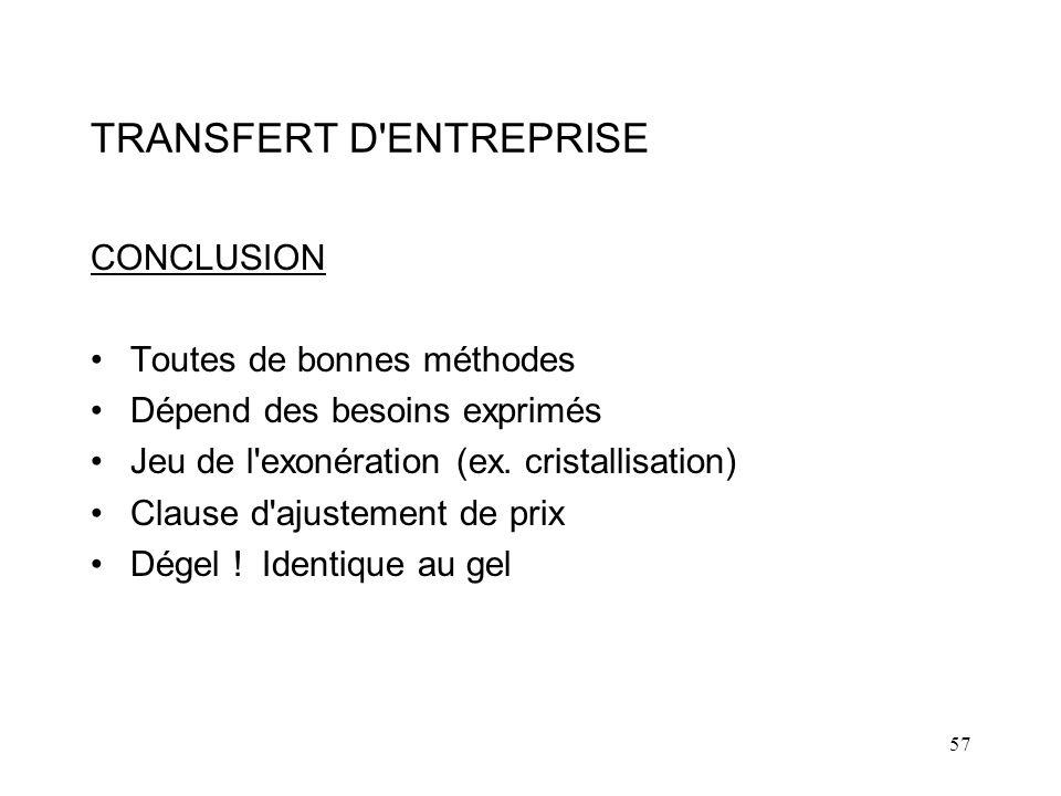 TRANSFERT D ENTREPRISE
