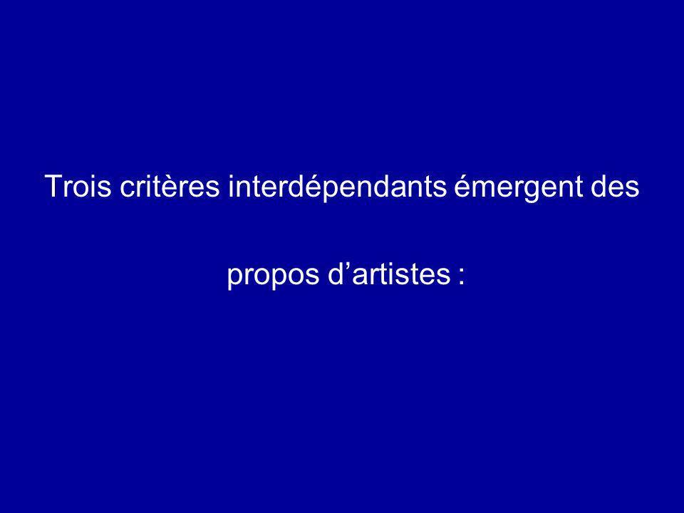 Trois critères interdépendants émergent des