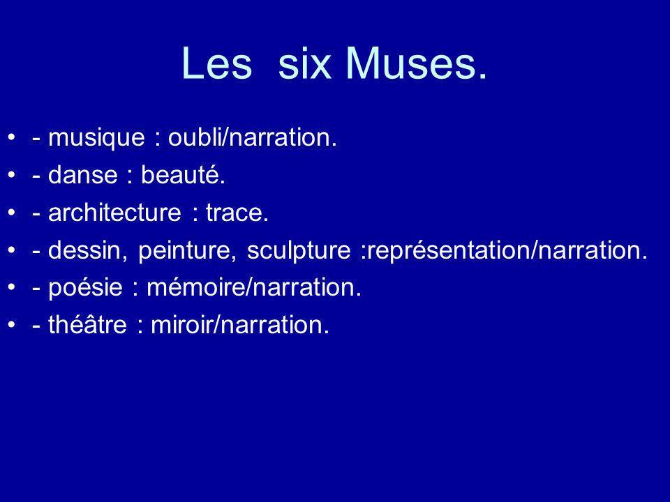 Les six Muses. - musique : oubli/narration. - danse : beauté.
