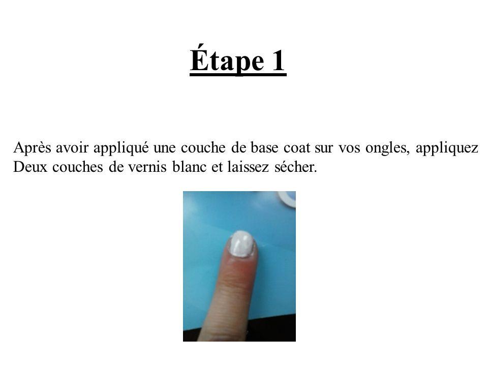 Étape 1 Après avoir appliqué une couche de base coat sur vos ongles, appliquez.