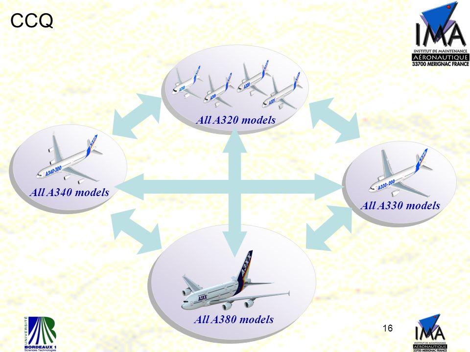 CCQ All A320 models All A340 models All A330 models All A380 models