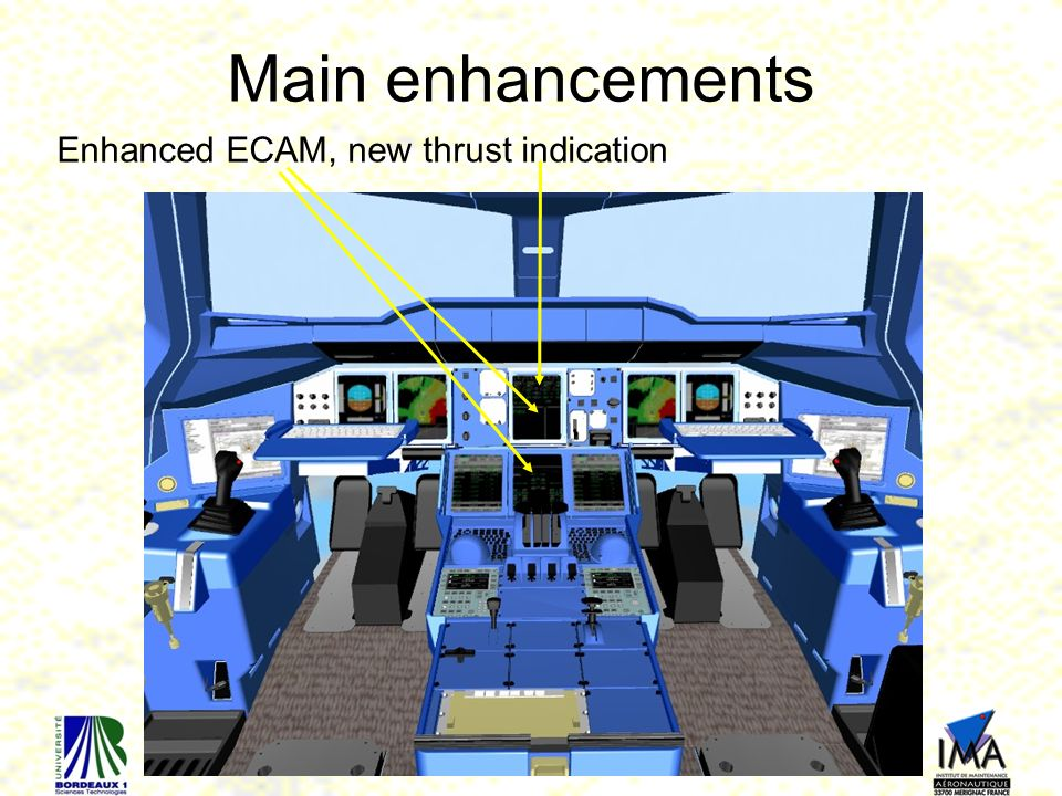 Main enhancements Enhanced ECAM, new thrust indication