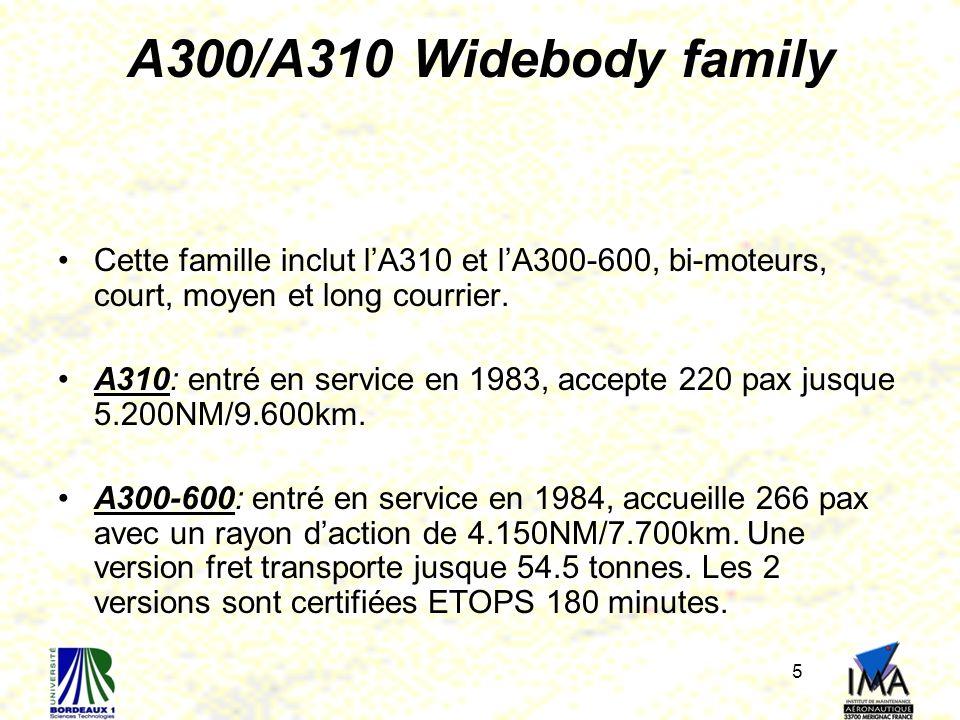 A300/A310 Widebody family Cette famille inclut l'A310 et l'A300-600, bi-moteurs, court, moyen et long courrier.